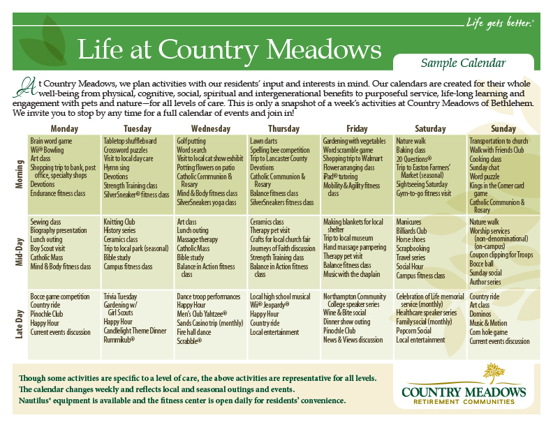 Events  Activities  Country Meadows Retirement Communities