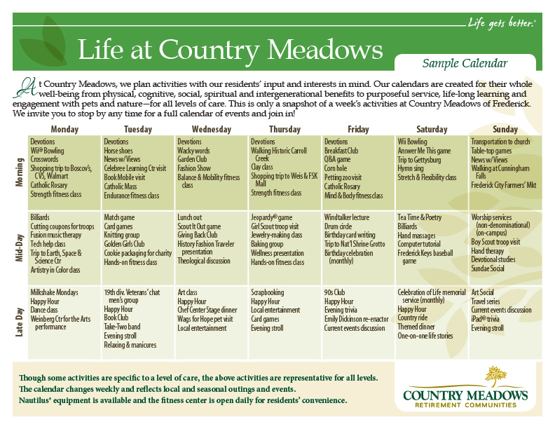 Frederick Retirement Community Events | Country Meadows of